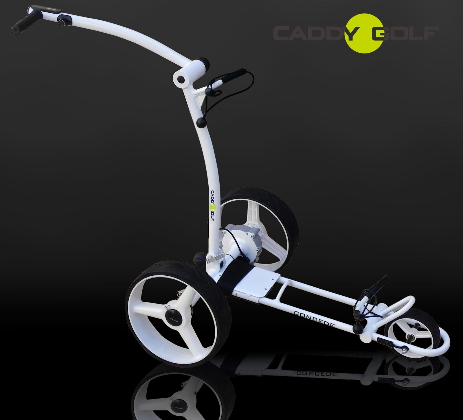 caddy golf concede elektro trolley weiss distanztimer. Black Bedroom Furniture Sets. Home Design Ideas
