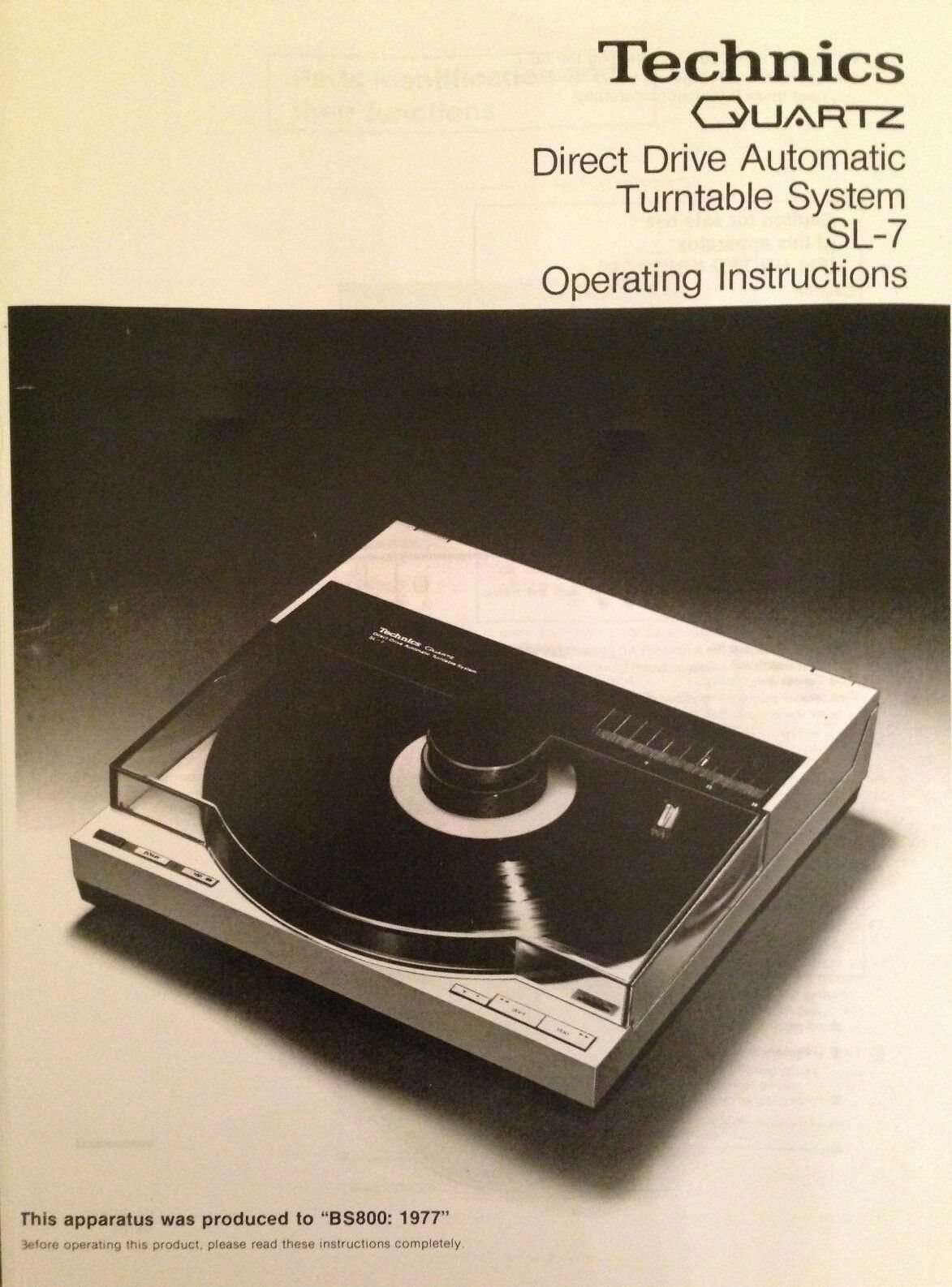 Technics Turntable System SL-7 Operating Instruction - USER MANUAL - Hifi  VINYL 1 of 2FREE Shipping See More