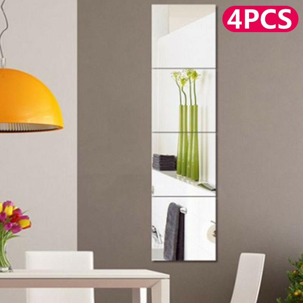 4pc mirror tile wall sticker square self adhesive room for Adhesive decoration