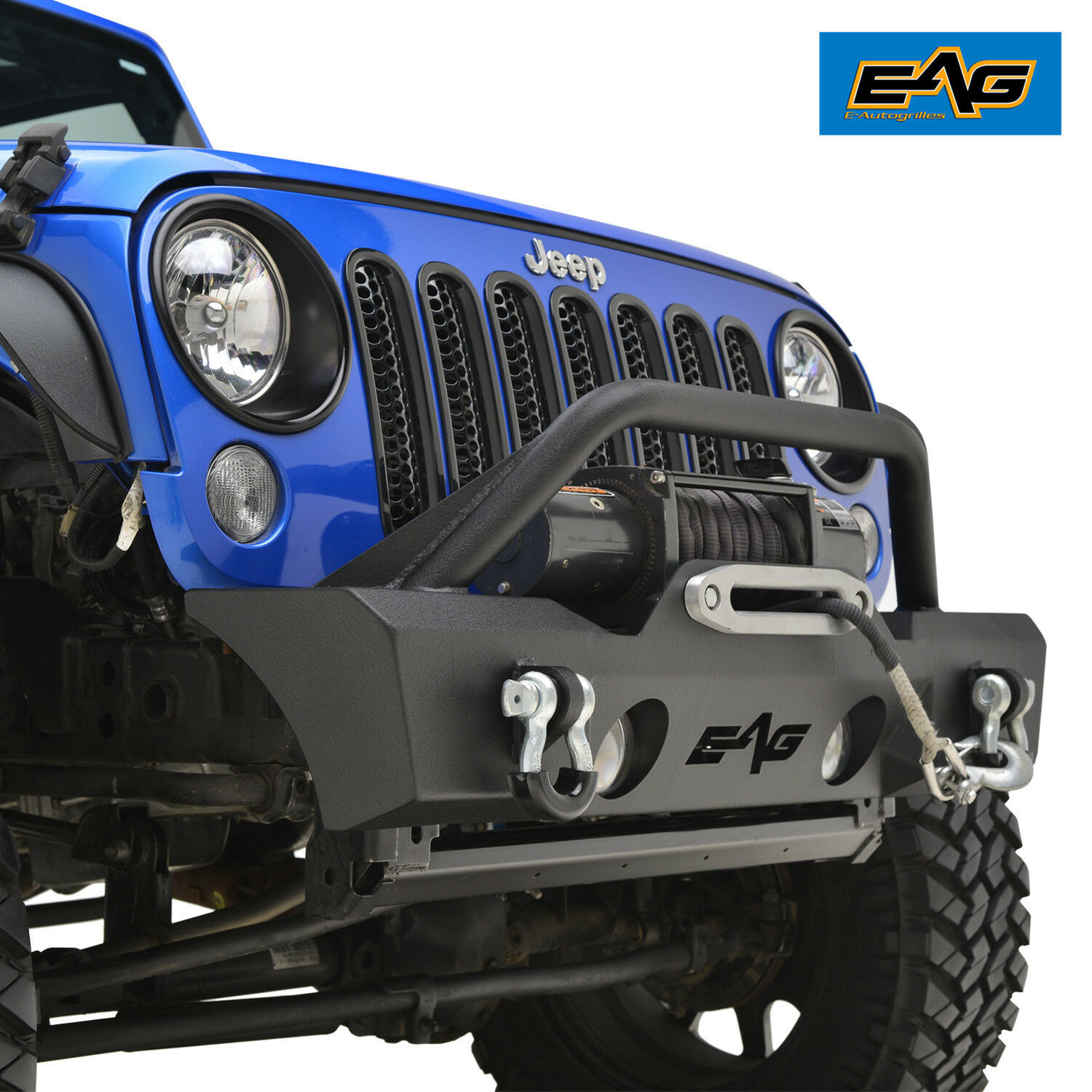 EAG 07 18 Jeep Wrangler JK Stubby Front Bumper BLK With Fog Light Hole U0026 1  Of 10FREE Shipping See More