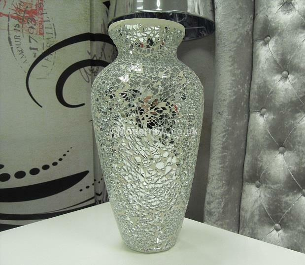 Large Silver Mirrored Mosaic Dried Flower Decorative Vase Mirrored