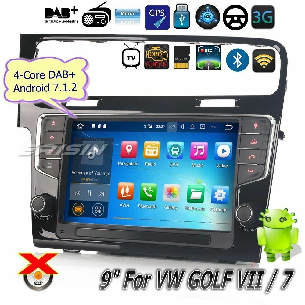 for vw golf 7 vii autoradio android 7 1 dab wifi dvr tnt. Black Bedroom Furniture Sets. Home Design Ideas