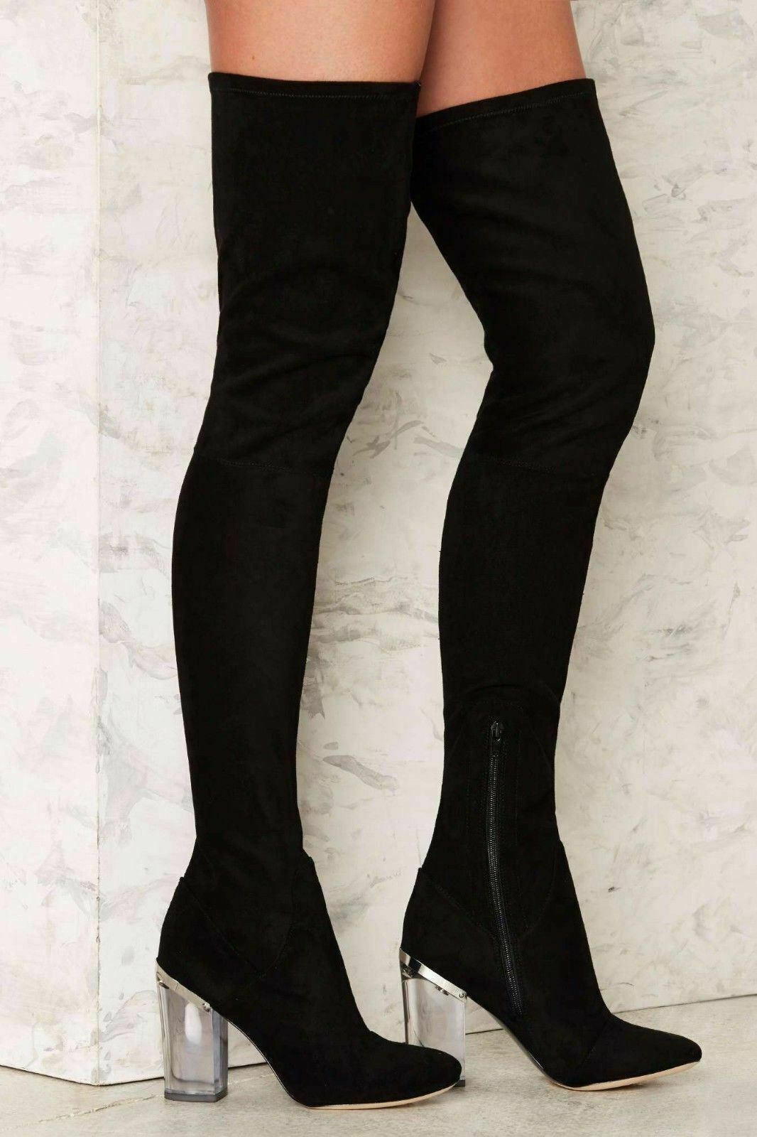 6c7bc37cff0 LFL Lust For Life Fifty Four Over the Knee Thigh High Stretch Suede Fitted  Boots • $67.99