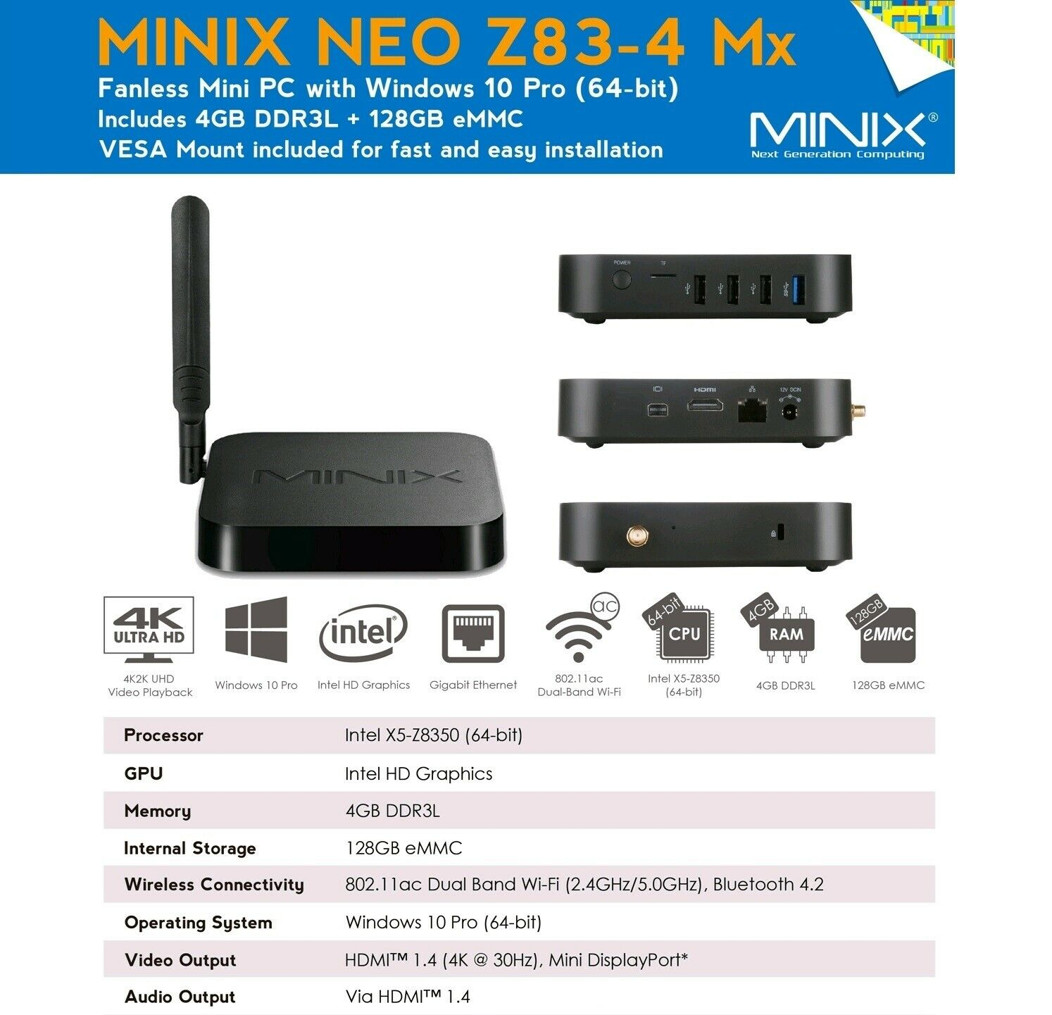 Minix Neo Z83 4 Mini Pc Fanless Computer Intel Quad Core Desktop 4gb Ver Ii With Procesor Z8350 Window 10 64bit 1 Of 12only 2 Available