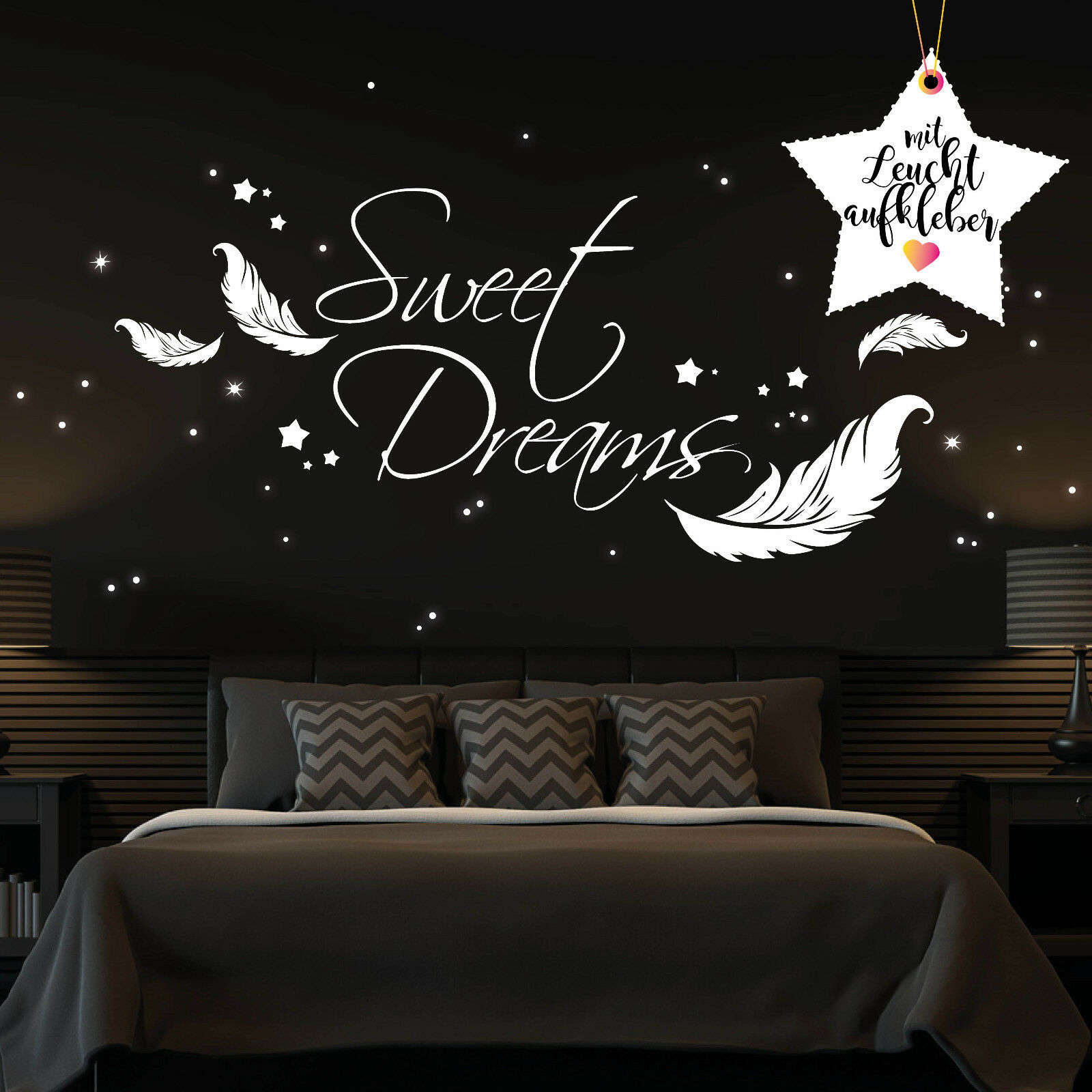 WALL TATTOO Sweet Dreams with Glowing Stickers wl12342 Wall Stickers ...