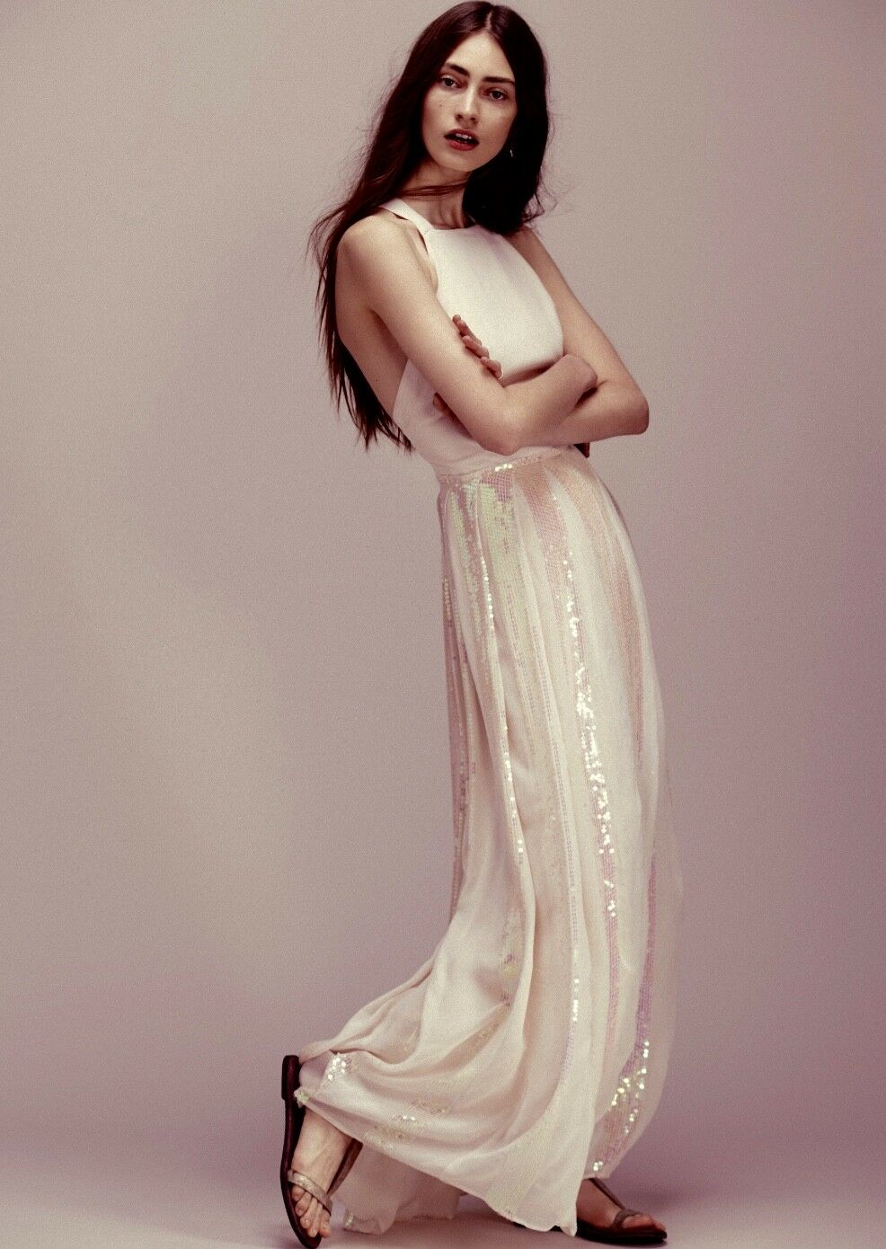 NEW FREE PEOPLE Special Edition pale pink Chiffon Sequin Apron Maxi ...