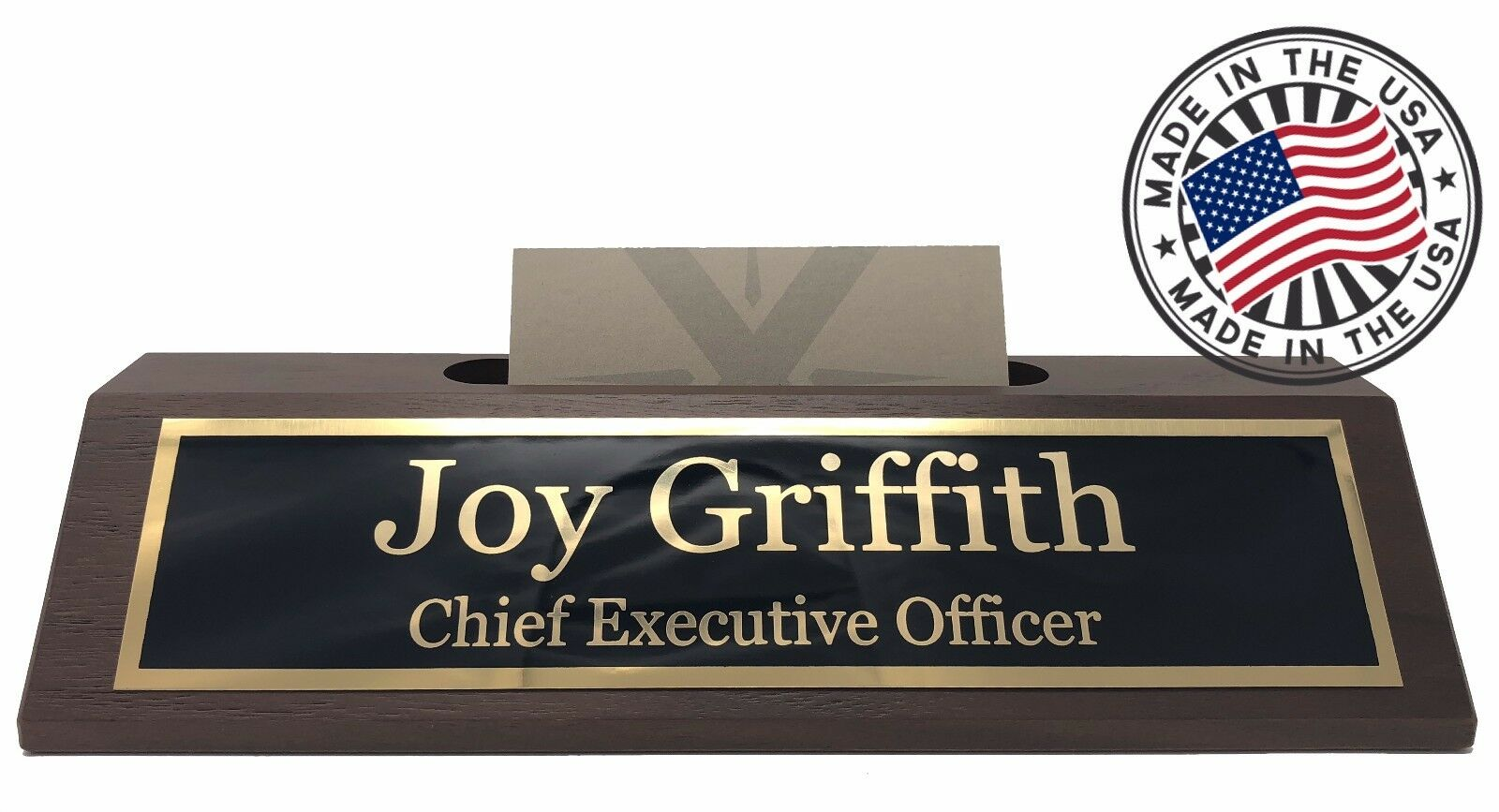 Personalized business desk name plate with card holder made in usa personalized business desk name plate with card holder made in usa walnut 1 of 4free shipping colourmoves