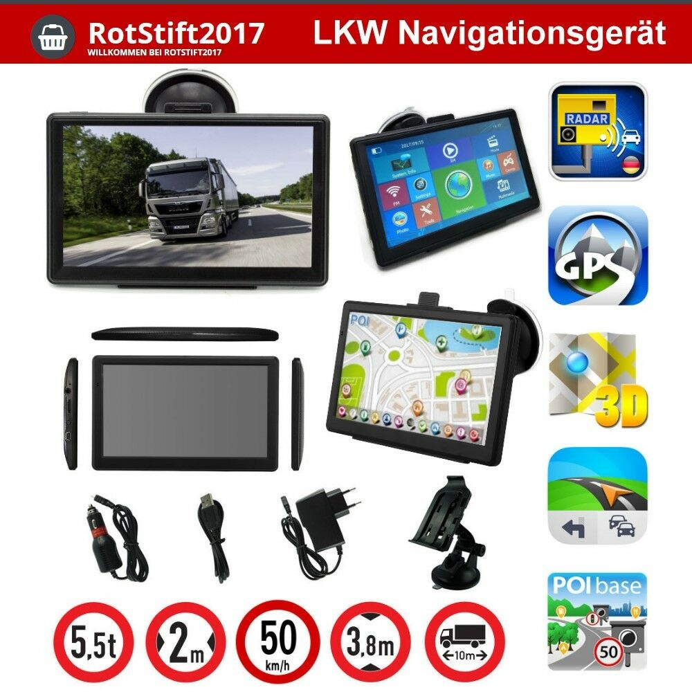 7 zoll gps navigationsger t f r lkw pkw wohnmobil bus. Black Bedroom Furniture Sets. Home Design Ideas