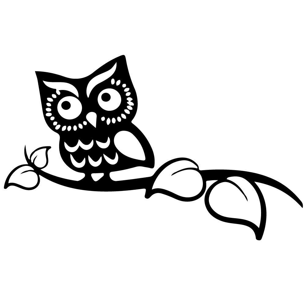 8 owl on branch vinyl decal sticker car window laptop animal tree bird 1 of 4