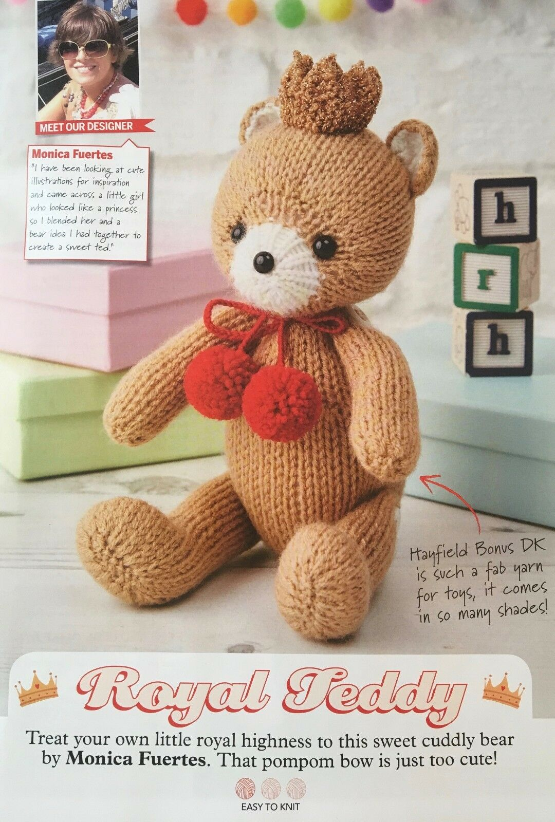 KNITTING PATTERN ROYAL Teddy Bear Toy wearing Crown and Pom pom Bow ...