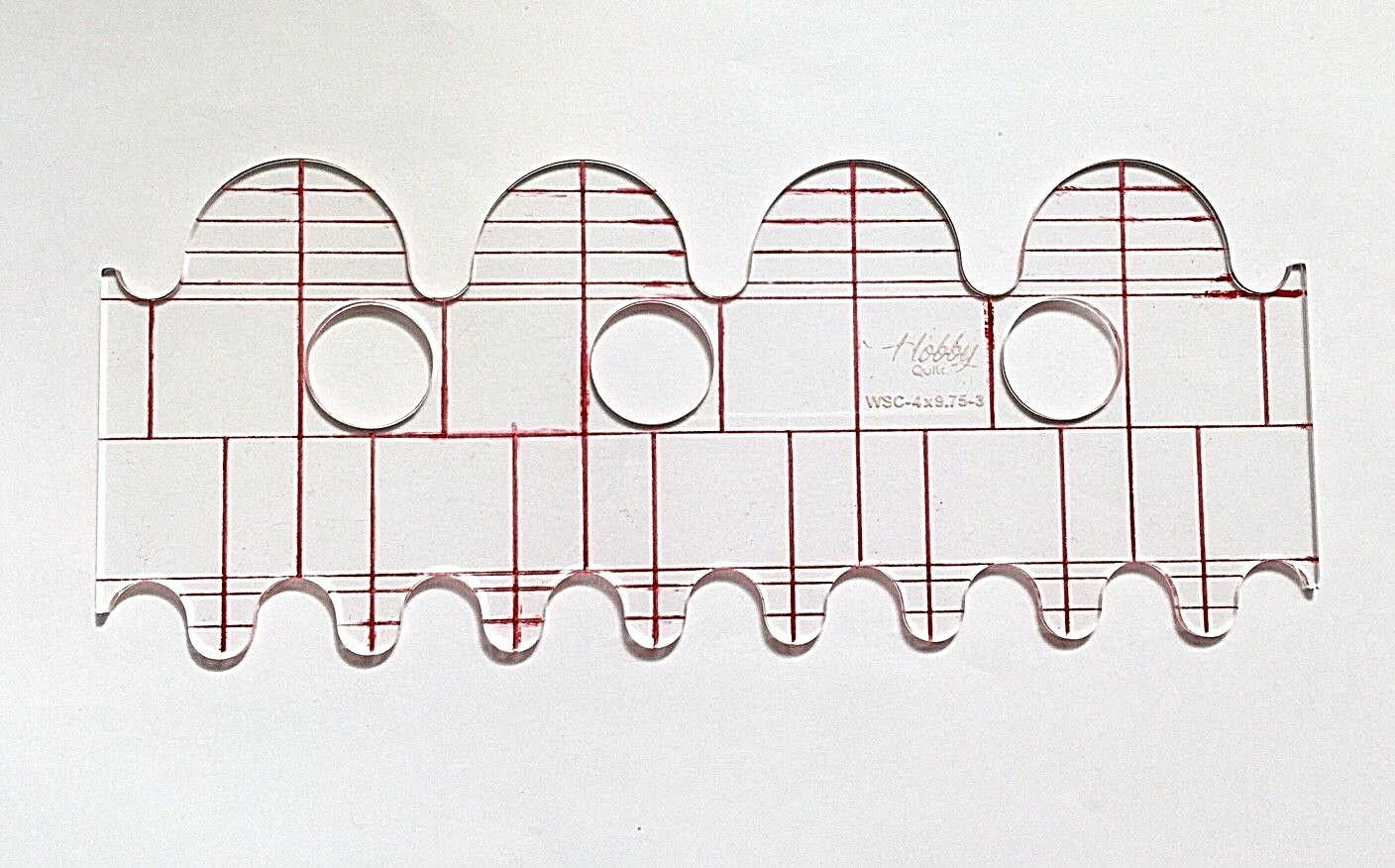 QUILTING RULER TEMPLATE Wave & Scallop WSC-4X9.75-3 (3mm) - £13.50 ...