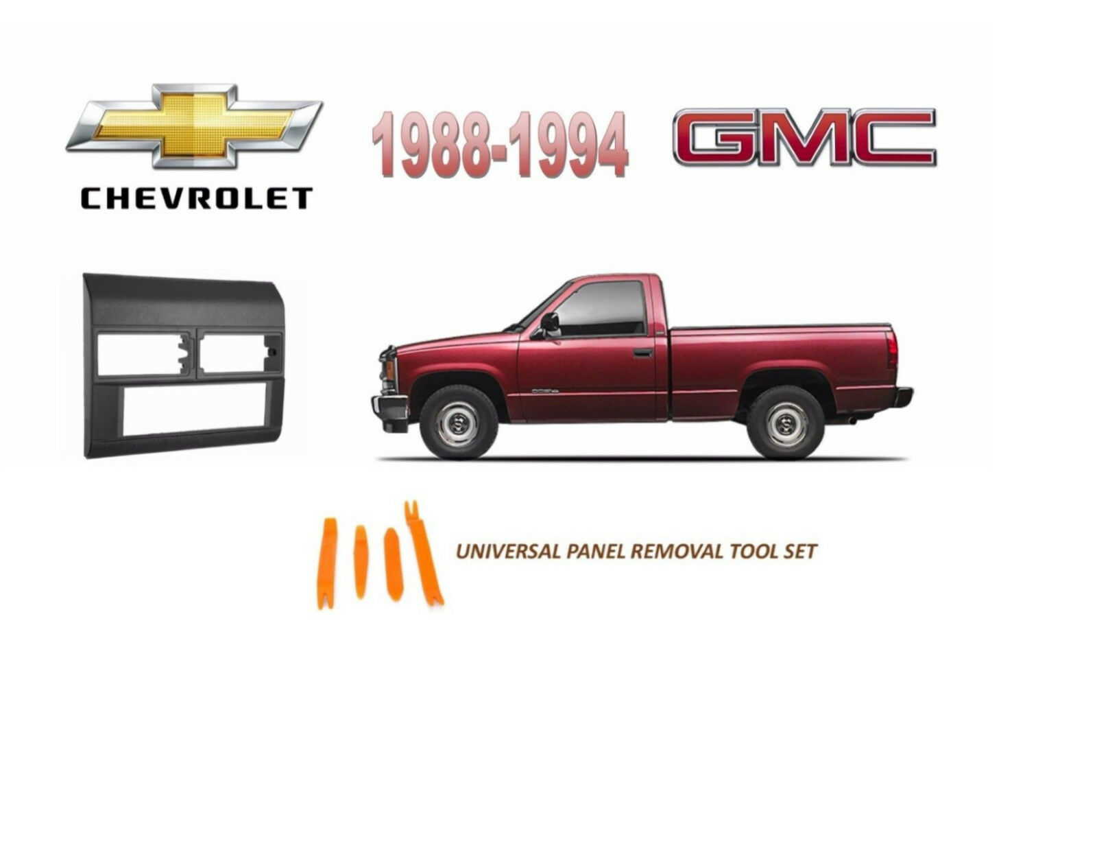1988 1994 Chevy Gmc Full Size Truck Stereo Install Dash Kit Gray Chevrolet Wiring Harness Adapter Dvd 1 Of 2 See More