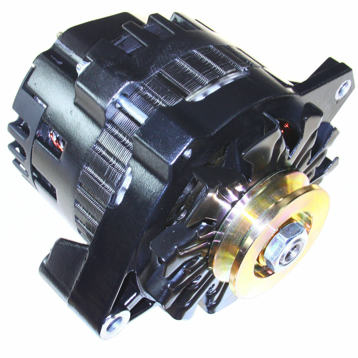 New Alternator Fitting Wire Just Wirings Diagram 3 Ford Voltage Black High Output Fit Gm 65 85 1 One 220 Amps Rh Picclick Com Chevy 2wire Wiring