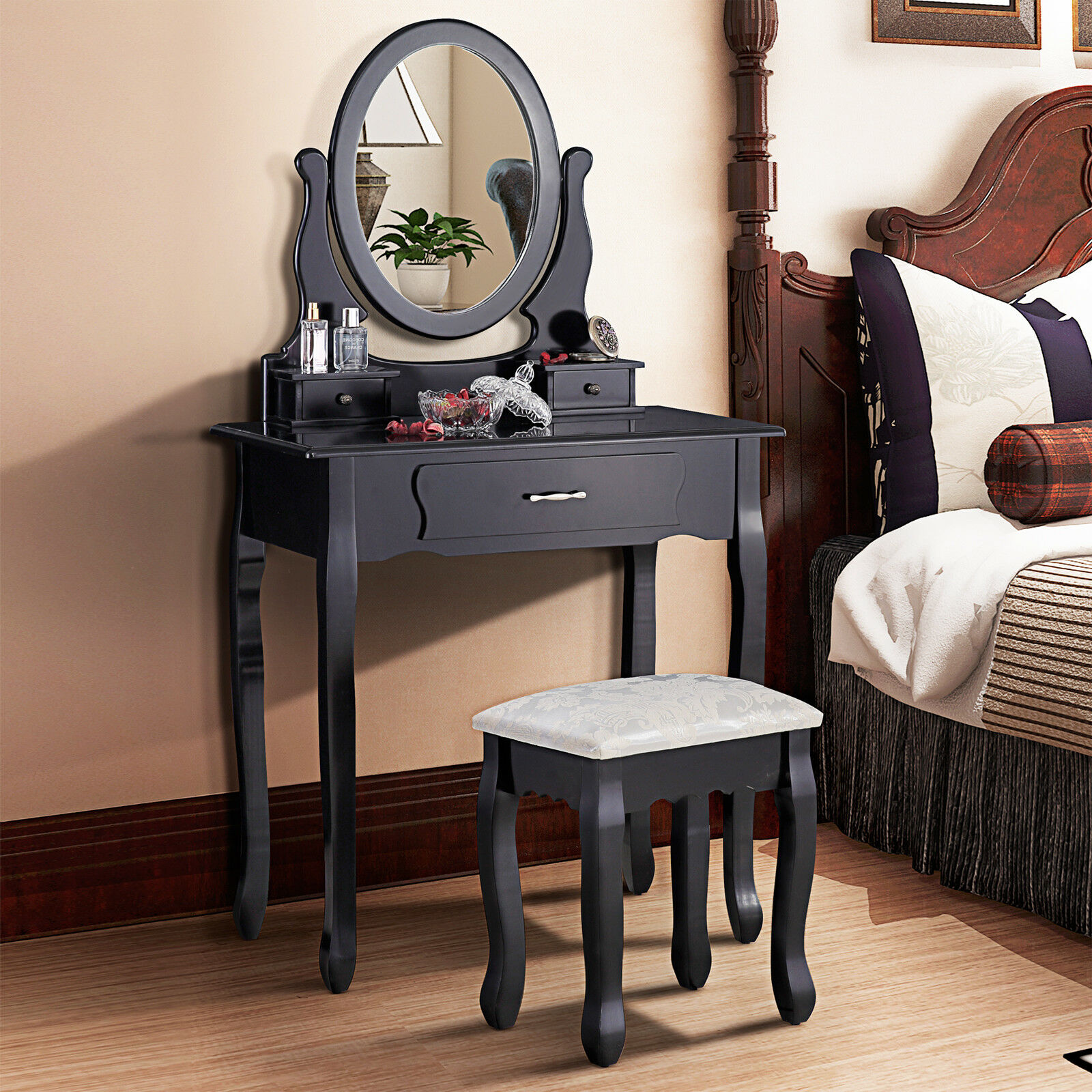 Retro luxury dressing table black makeup desk with stool for Black makeup table with mirror
