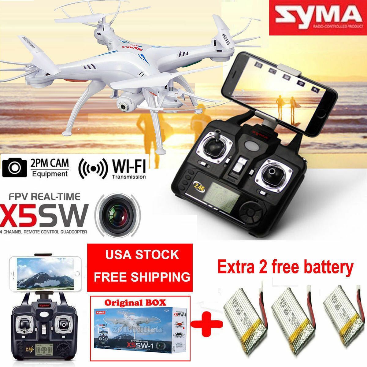 Syma X20 24ghz Rc Quadcopter Drone 2mp Hd Camera Rtf Headless Mode X8c Venture 4ch With 2 Mp Full White 3 Batteries 1 Of 12free Shipping