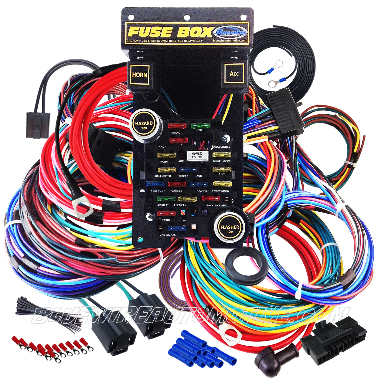 Universal 21 Circuit Plus Wiring Harness Hot Rod Wire Gm Holden Chev Ford Willys