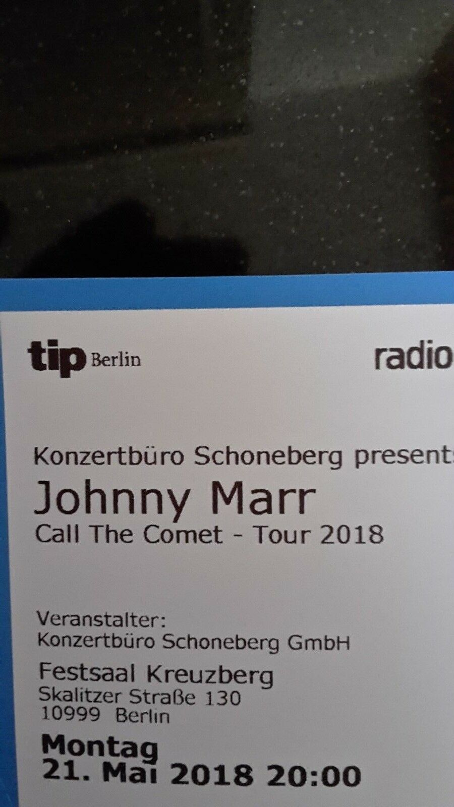 2 TICKETS Johnny Marr (The Smiths) am Pfingstmontag, 21. Mai in ...