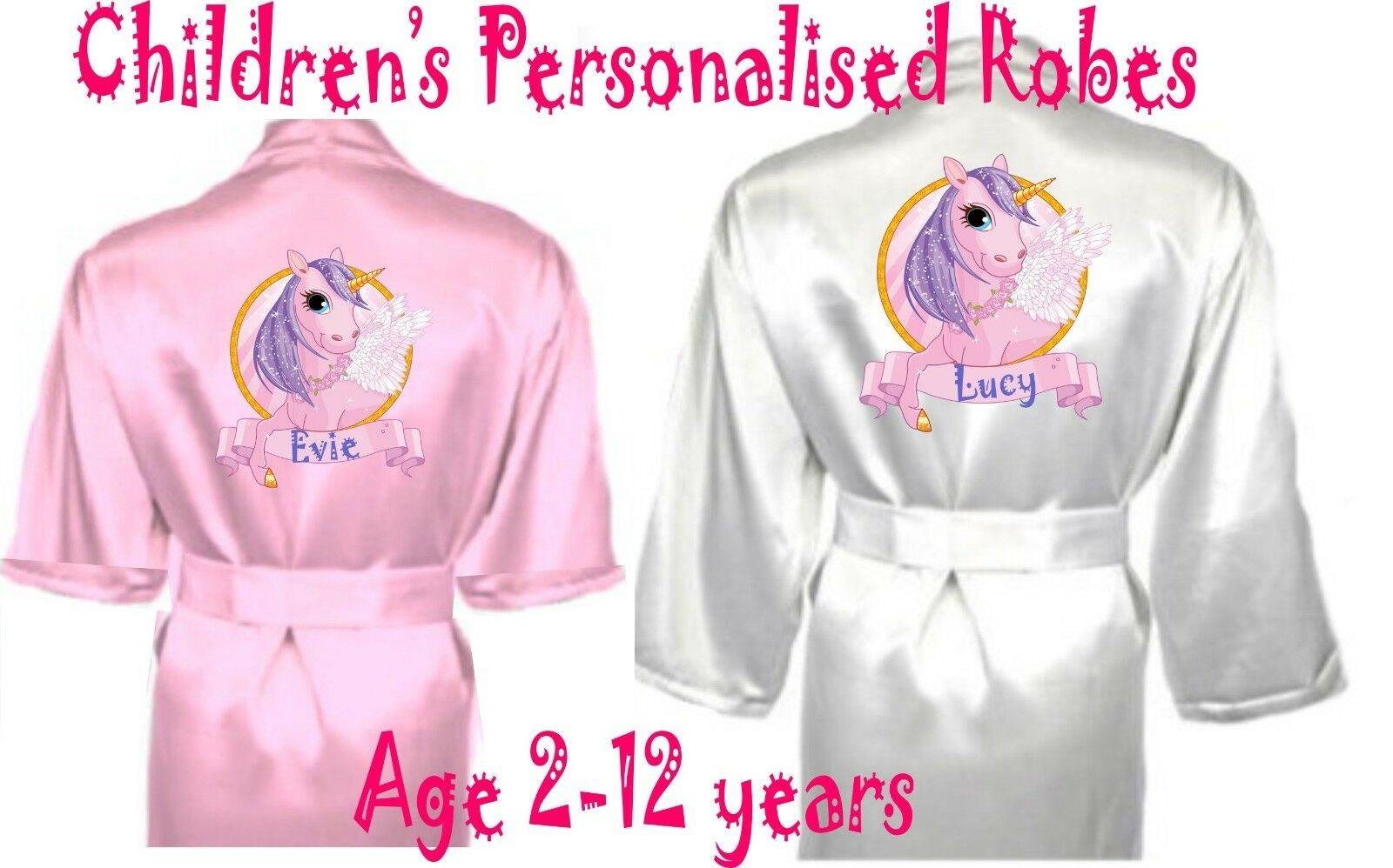 CHILDREN\'S PERSONALISED UNICORN Satin Silky Robe / Dressing Gown ...