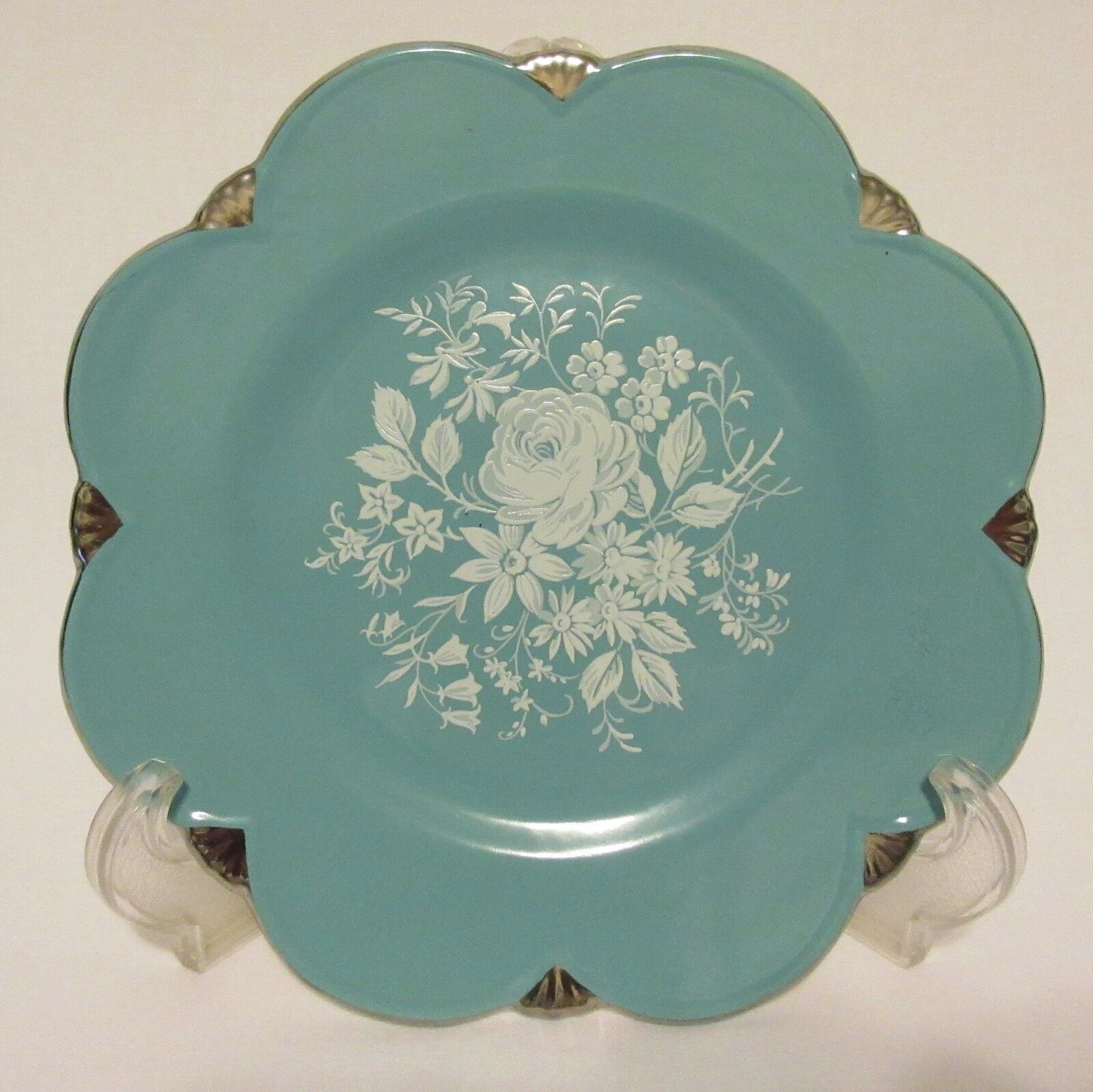 Royal winton grimwades turquoise aqua teal blue flowers silver trim 1 of 5only 1 available izmirmasajfo