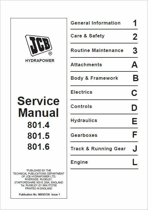 jcb service 801 4 801 5 801 6 mini tracked excavator service manual rh picclick co uk jcb mini excavator service manual jcb micro excavator service manual