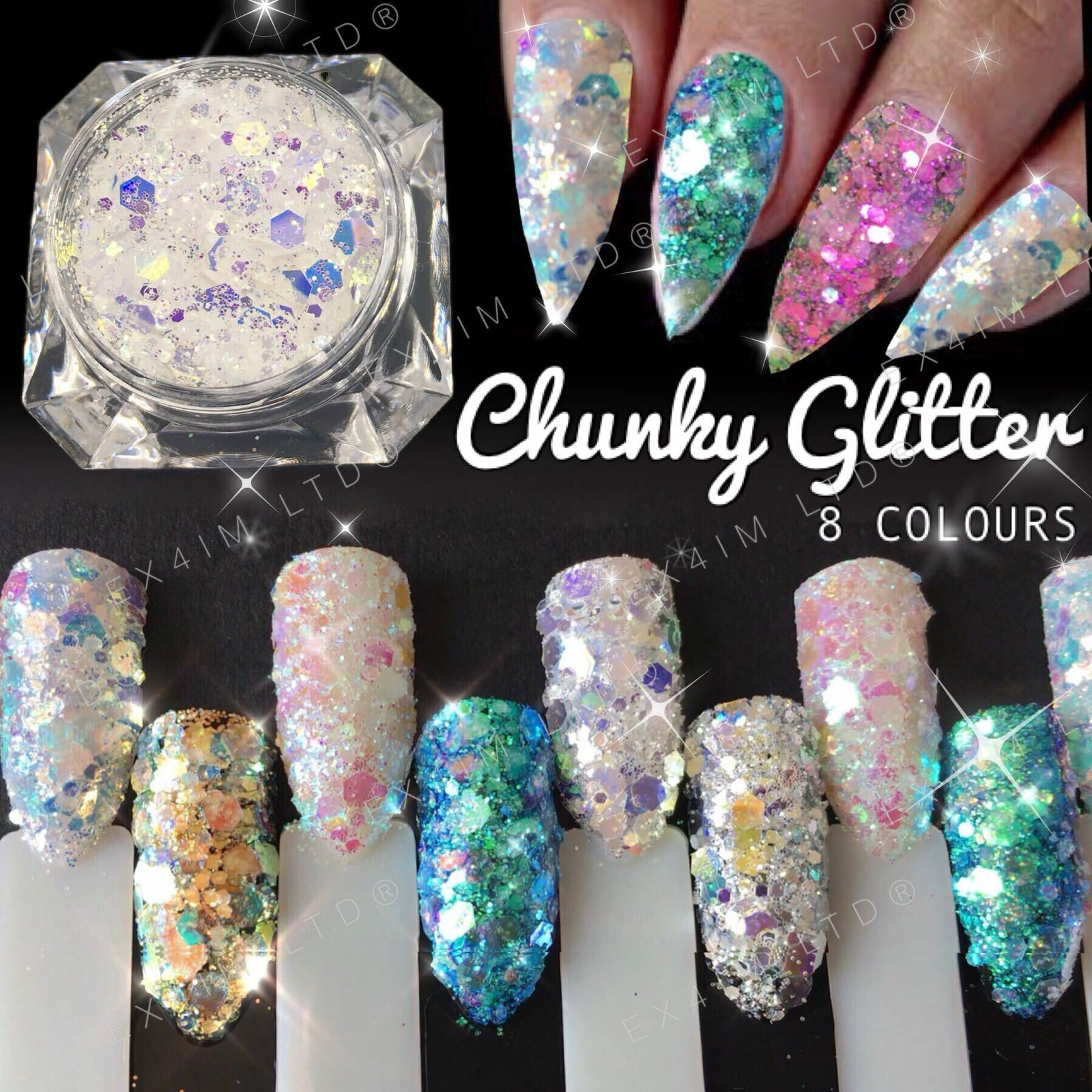 CHUNKY GLITTER MIX Nail Art Sequins Fairy Mermaid Powder Effect ...