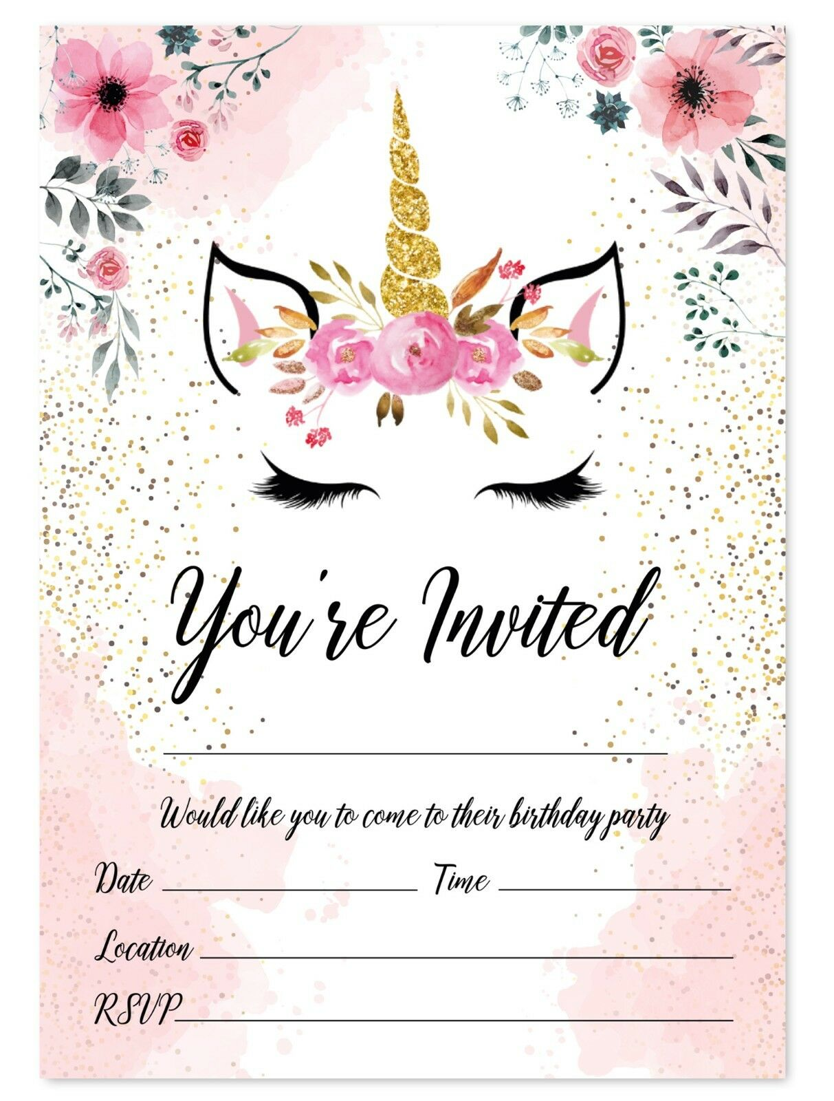 UNICORN BIRTHDAY PARTY Invitations Kids Invites Children Girl ...