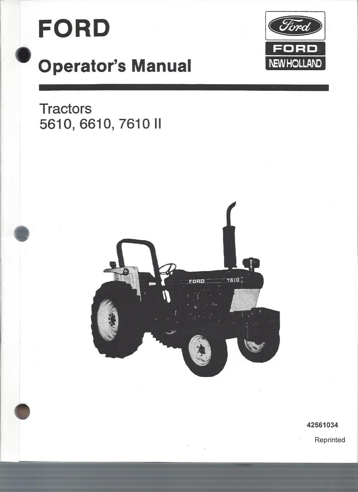 FORD 5610, 6610, 7610 Tractor Operators Manual, Series II, 1985 to 1993 1  of 1Only 1 available ...
