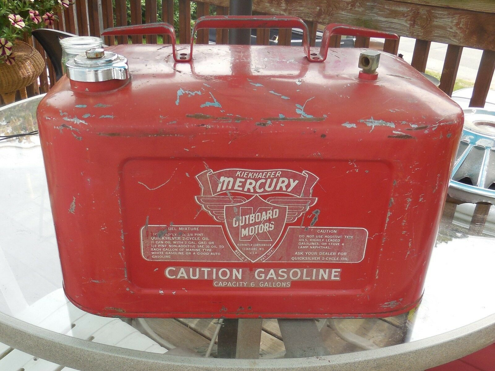 6 Gallon Kiekhaefer Mercury Gasoline Gas Fuel Tank Outboard Boat Motor  Johnson n 1 of 7Only 1 available ...