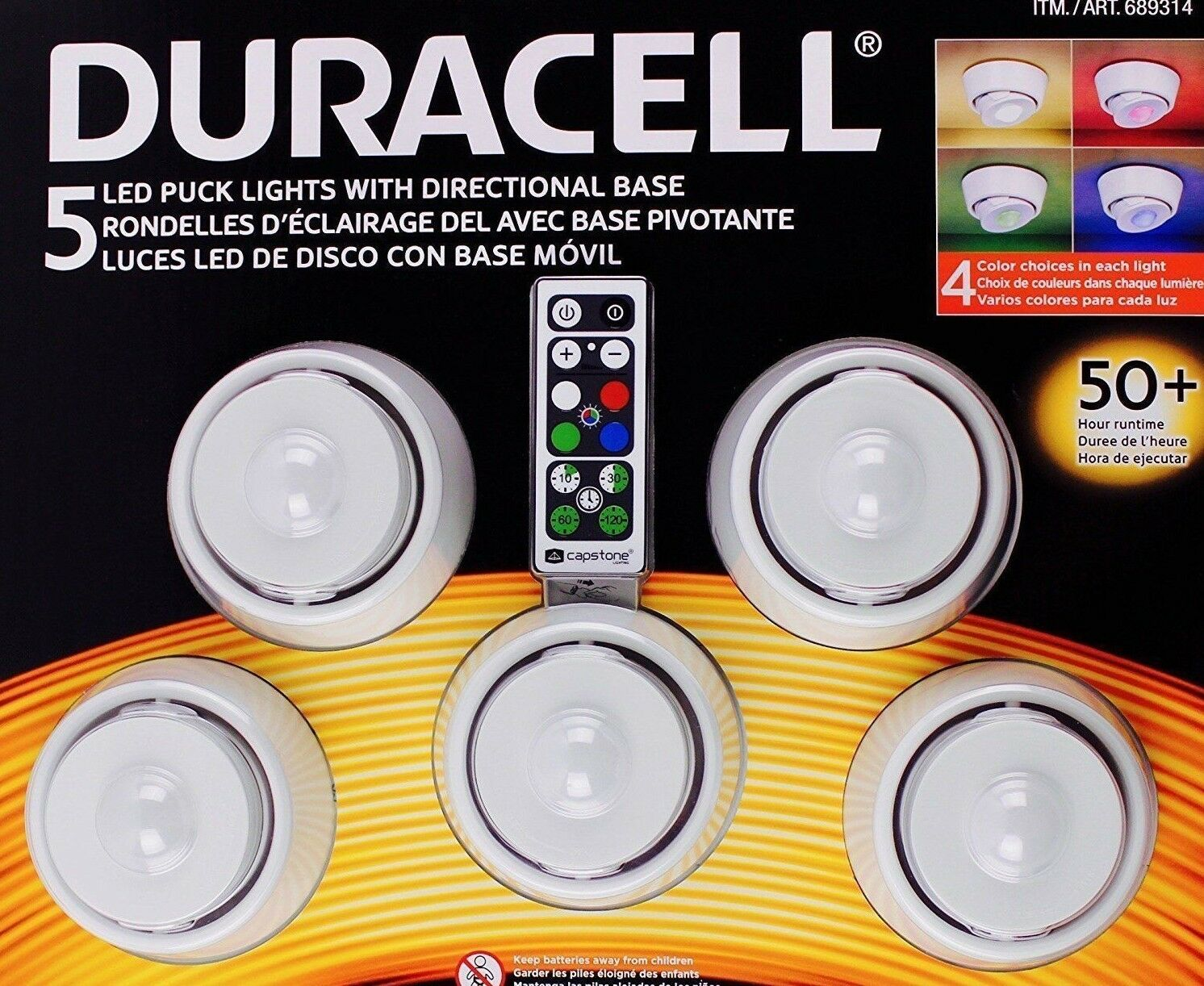 Ordinaire New Duracell LED Puck Lights 5Pk Under Cabinet Lights Color 4 Light Colors  1 Of 2Only 0 Available ...
