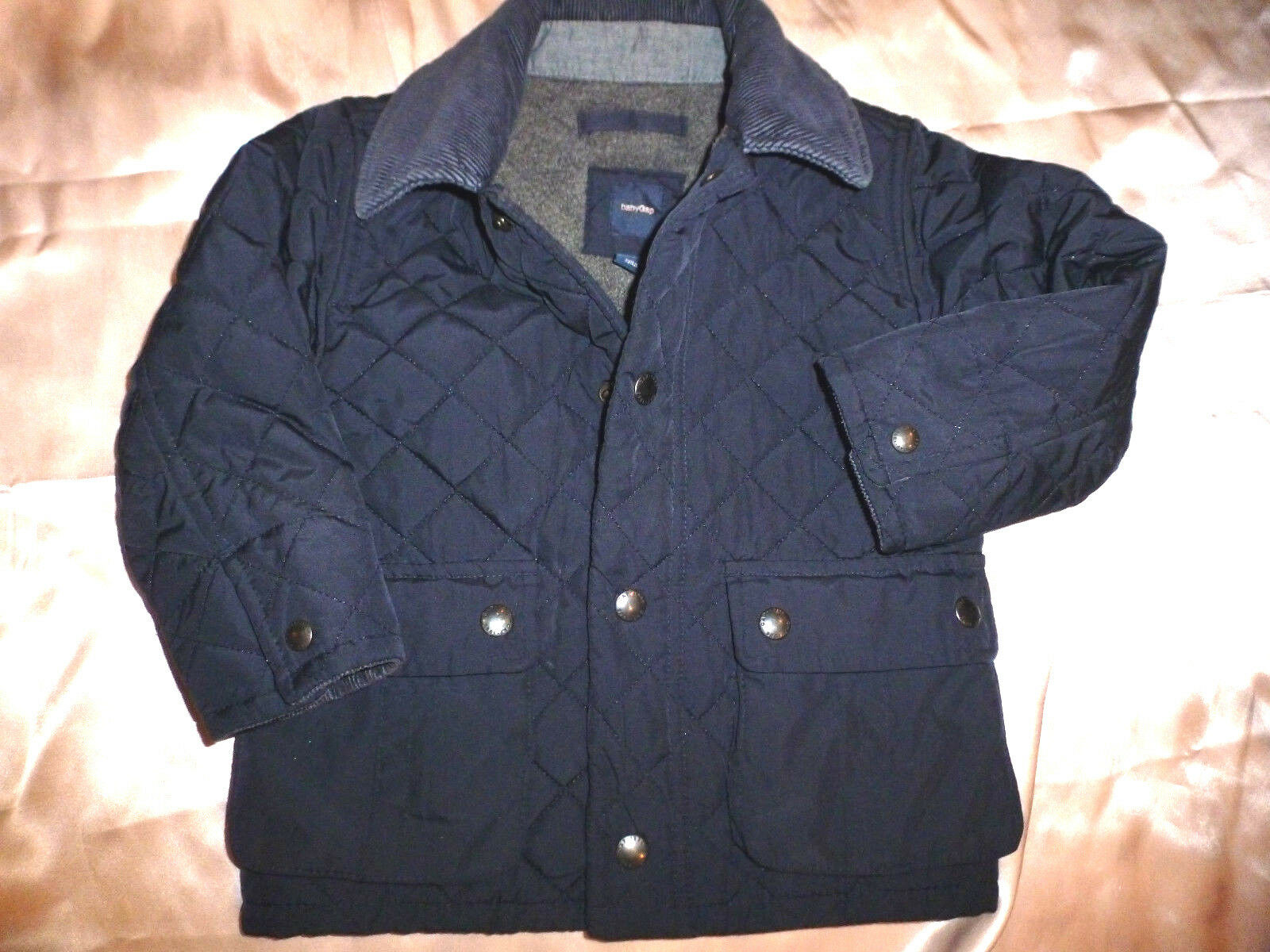 Baby Gap Quilted Navy Blue Barn Jacket Coat Size 2 Years Toddler