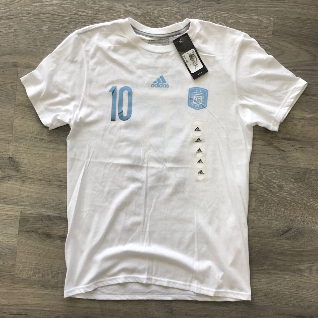 Adidas Messi Argentina National Football Team Fans T Shirt World Cup Fashion Big Size 2xl Soccer Xl 1 Of 3only 0 Available