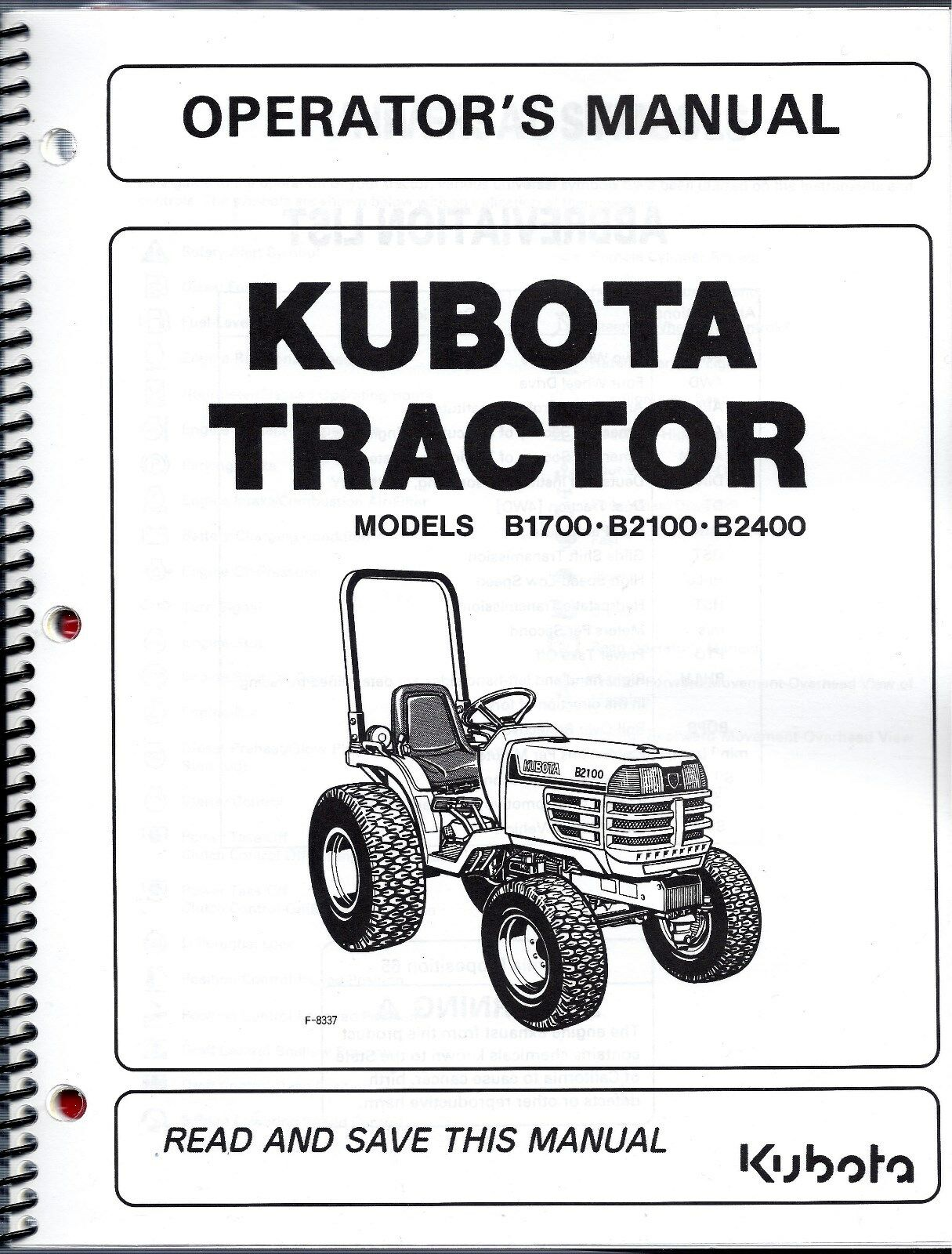 Kubota B1700 B2100 B2400 Tractor Operator Manual / RC60-24B MOWER 2 MANUAL  1 of 2Only 1 available ...