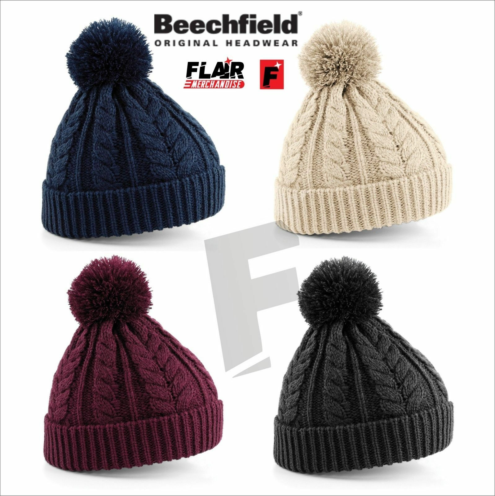 cd95e63c46b Beechfield Cable Knit Snowstar Beanie 1 of 1FREE Shipping ...