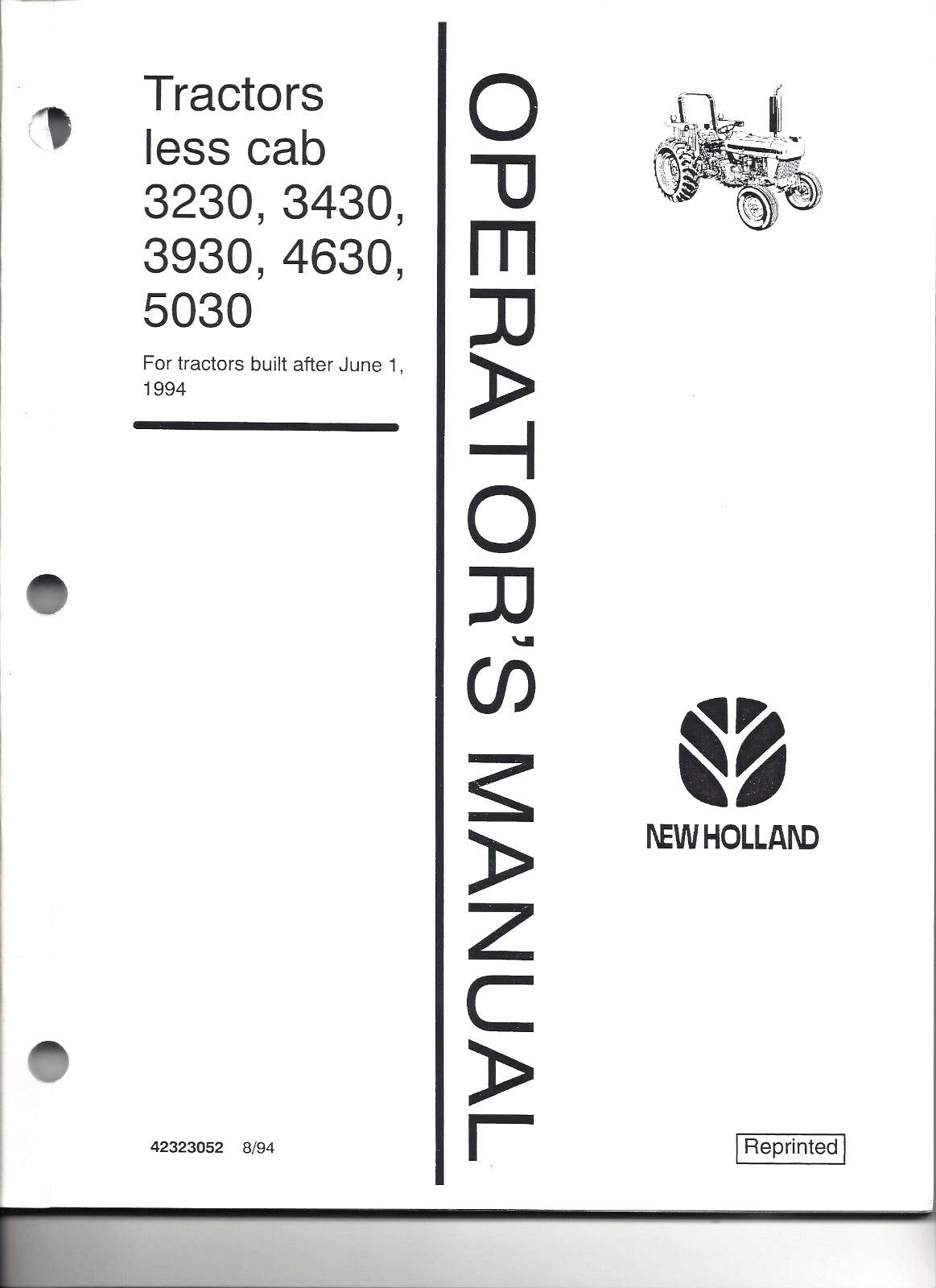 New Holland 4630 Operators Manual Ford 3230 Wiring Diagram 3430 3930 5030 Operator 6 94 Up Rh Picclick Com 5630