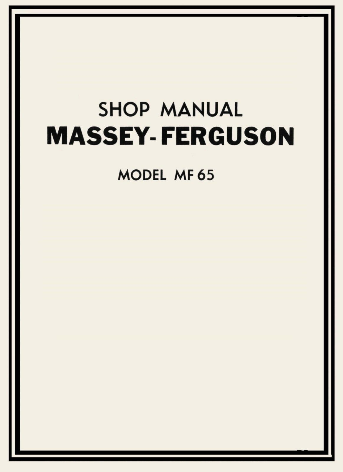 Massey Ferguson MF 65 Tractor Service Manual & Parts Manual on CD MF65 1 of  9Only 3 available ...