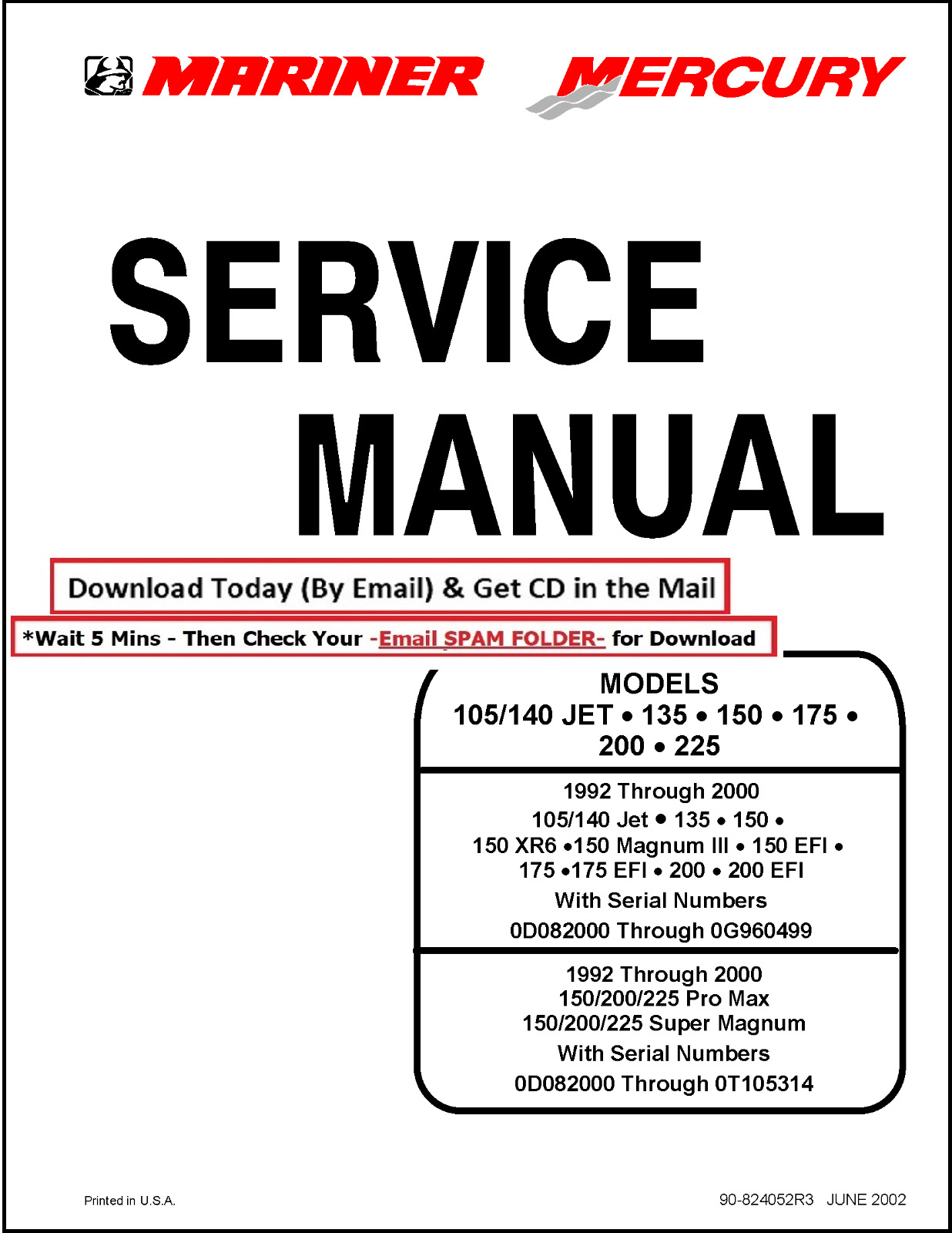 Mercury Mariner Service Manual 105/140 Jet 135 150 175 200 225 1 of 5Only 5  available ...