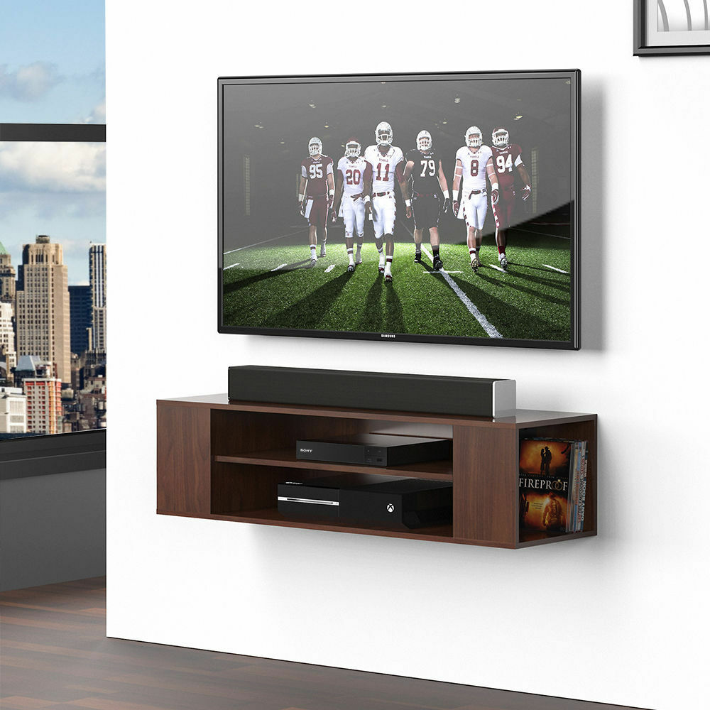 Wood Floating Wall Mount Shelves Tv Stand Media Console With 2 Tier Shelf 1 Of 6only 4 Available