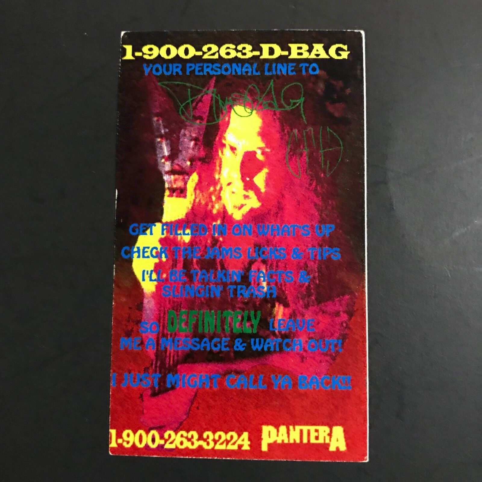 Dimebag darrell business card pantera not vinnie paul not phil 1 of 1only 1 available colourmoves