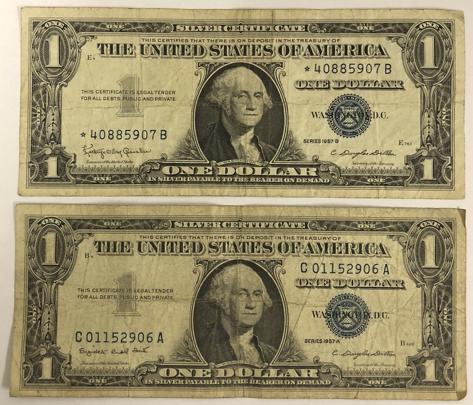 1 One Dollar Silver Certificate 2 Note Set 1957 And 1957 Star