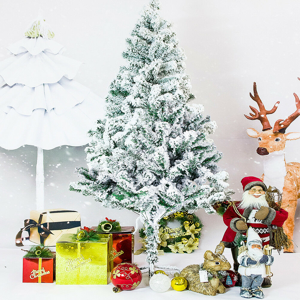 HOLIDAY TIME 4 5 6 7 FT Flocked Artificial Christmas Tree Santa Pine ...