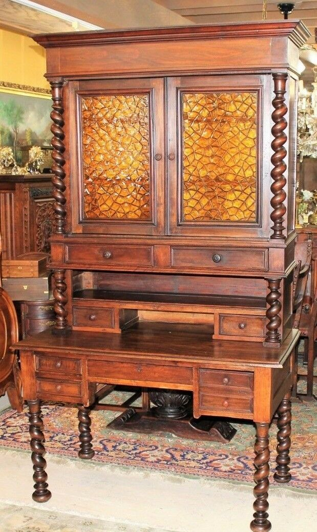 French Antique Louis Xiii Large Secretary Desk Tall 2 Door Bookcase Circa 1880 1 Of 12free Shipping