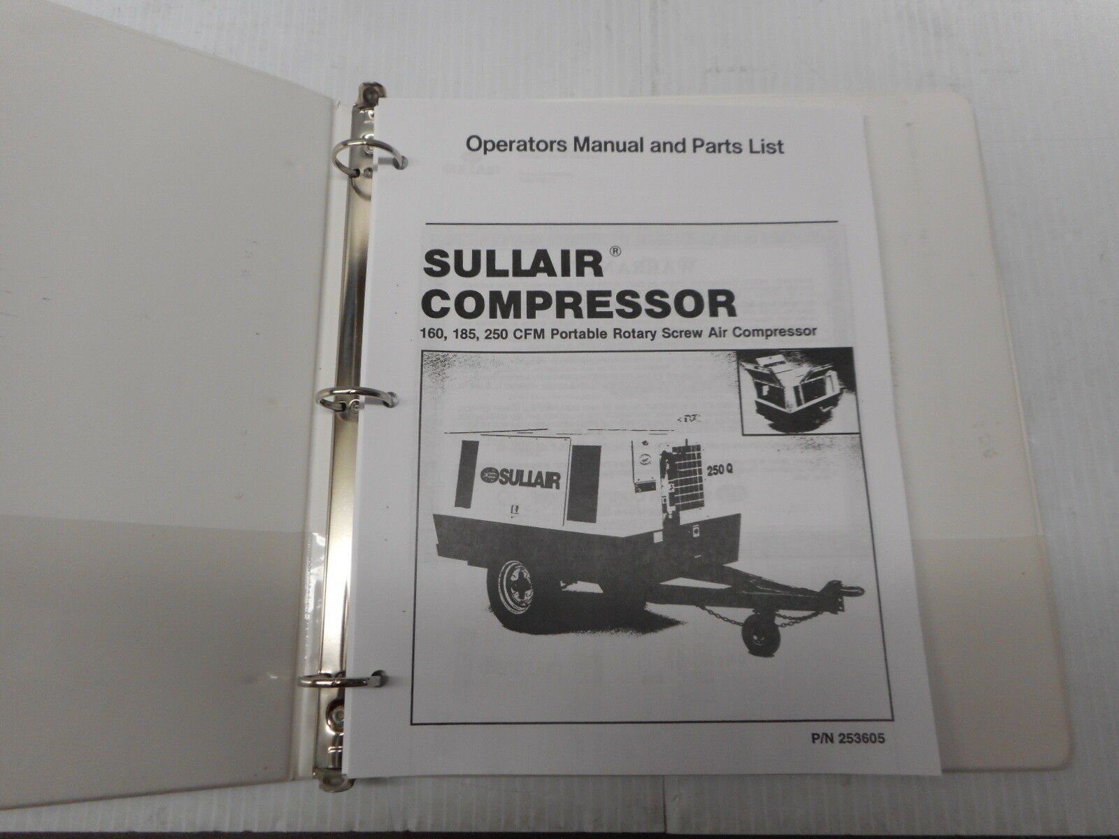 Sullair 160, 185, 250 CFM Portable Air Compressor Operators Manual 253605 1  of 5Only 1 available ...