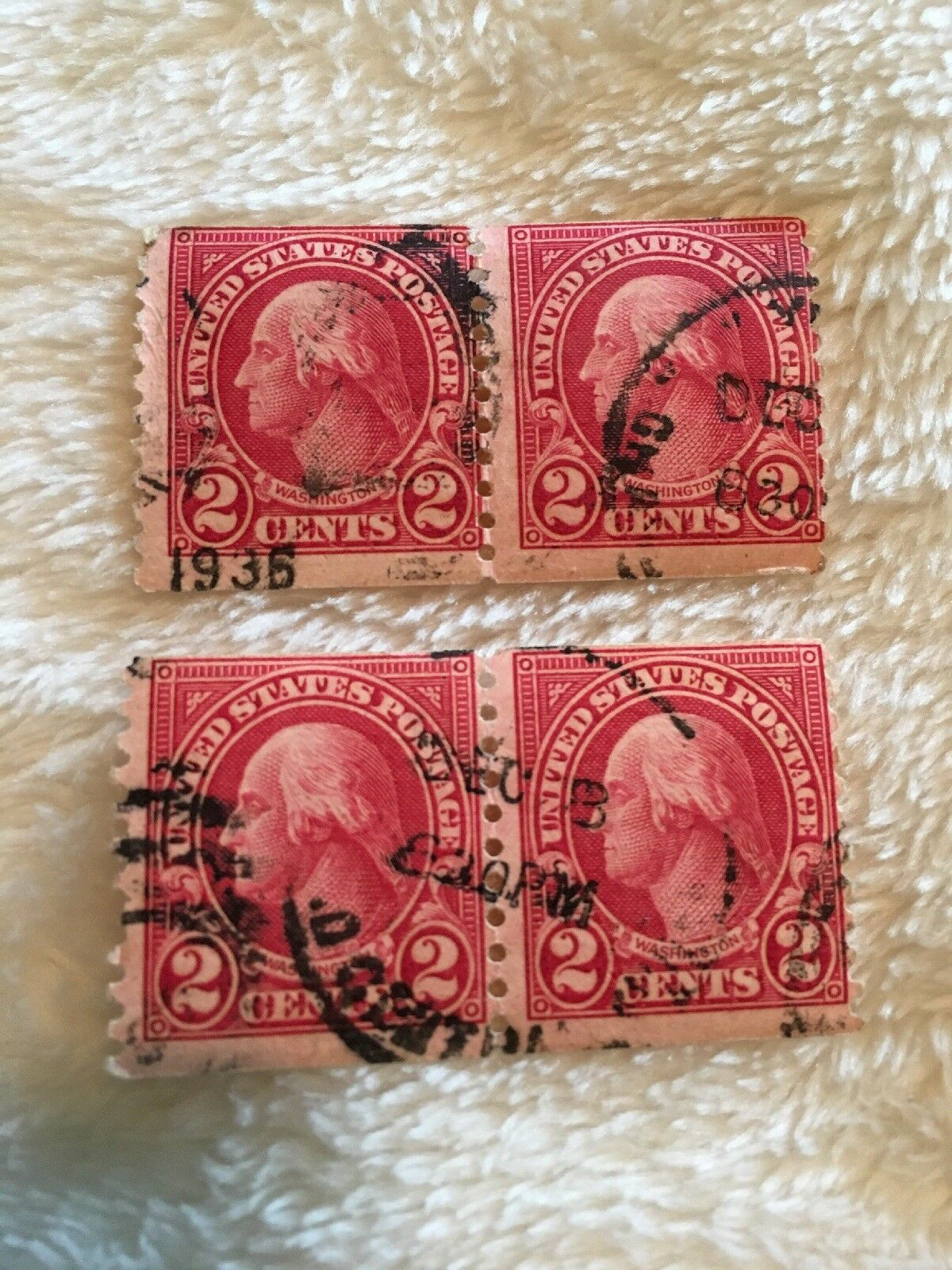 George Washington 2 Cent Red Stamp Blocks Of 1 3Only Available