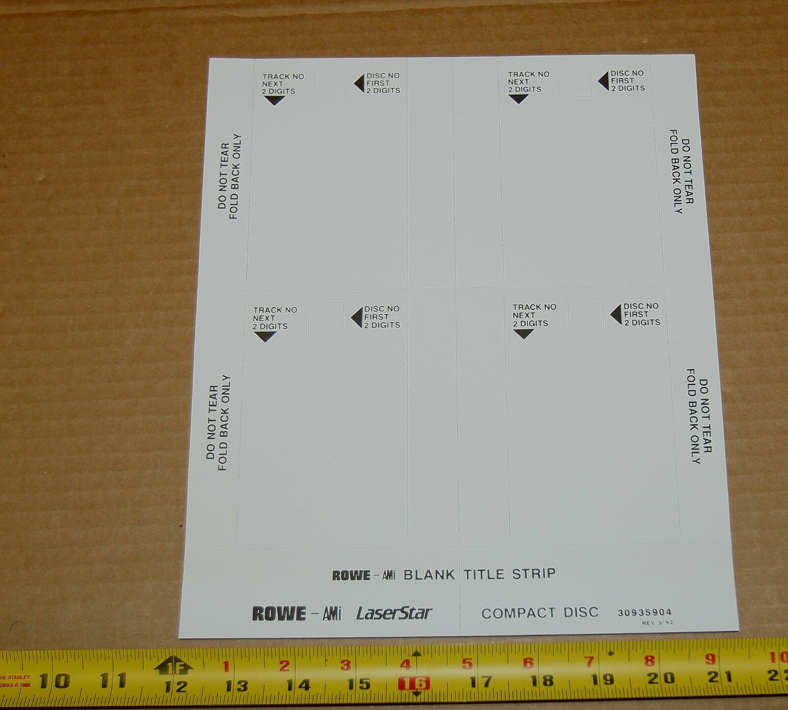 Rowe AMI CD-100 jukebox full sheets of blank title strip cards, 25 x 1 of  10 Rowe AMI CD-100 jukebox ...