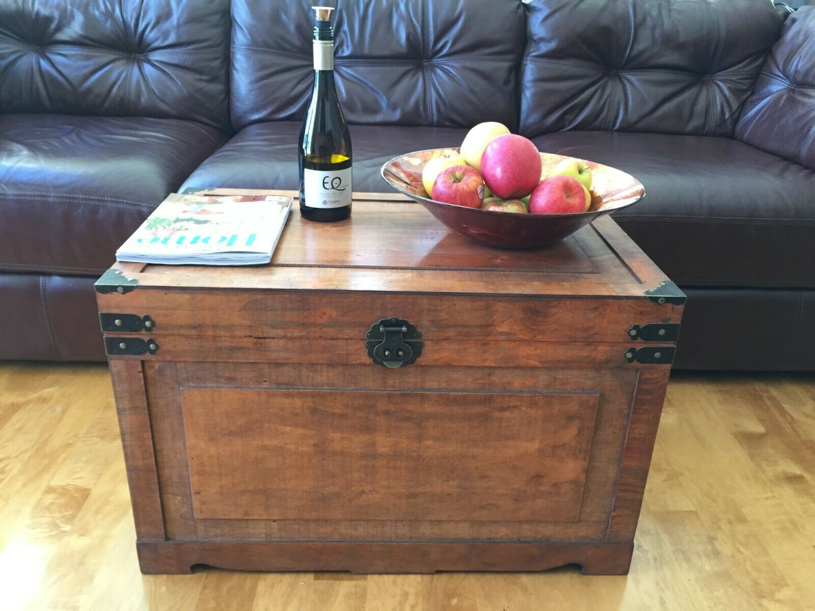 Brown Old Fashioned Medium Wood Storage Trunk Wooden Chest 1 Of See More
