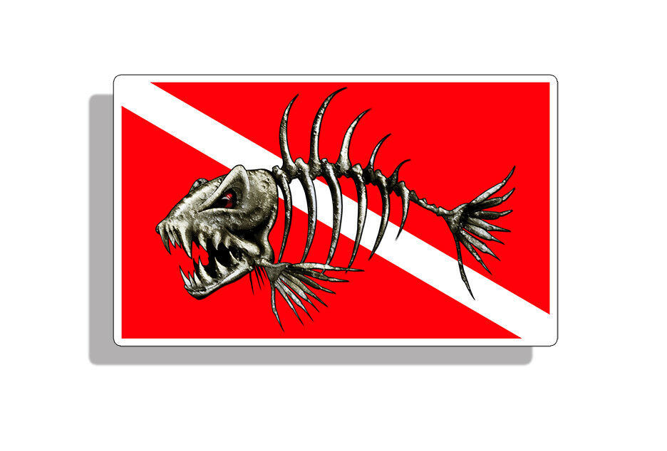 2 skull bone fish decal vinyl stickers saltwater window for Diving and fishing mural