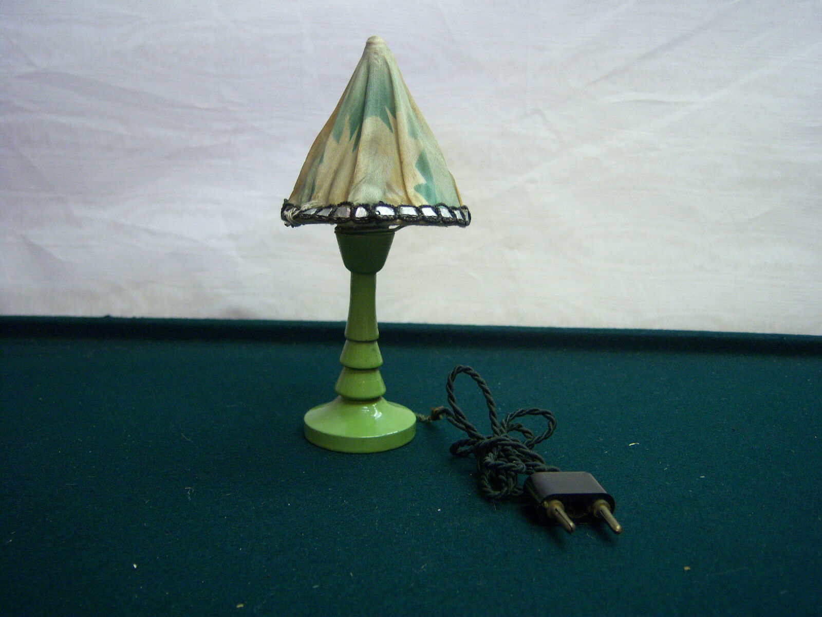 Dollhouse Miniature Painted Wood Electric Table Lamp Antique Furniture ...