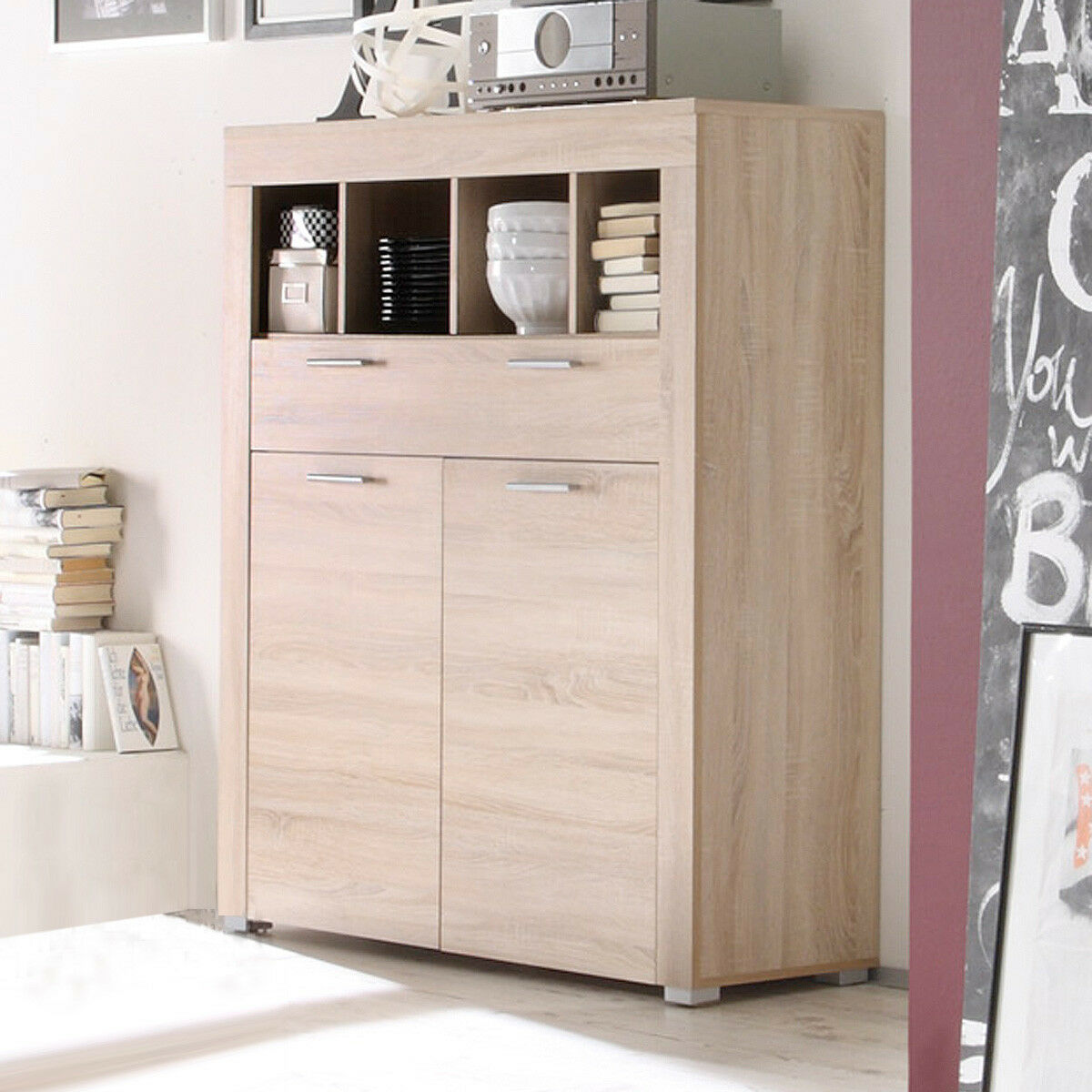kommode boom schrank sideboard sonoma eiche s gerau hell eur 209 95 picclick de. Black Bedroom Furniture Sets. Home Design Ideas