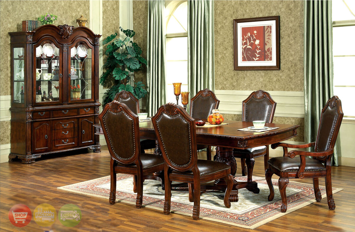 Chateau traditional 9 piece formal dining room set table chairs china cabinet 2 - Traditional dining room tables ...