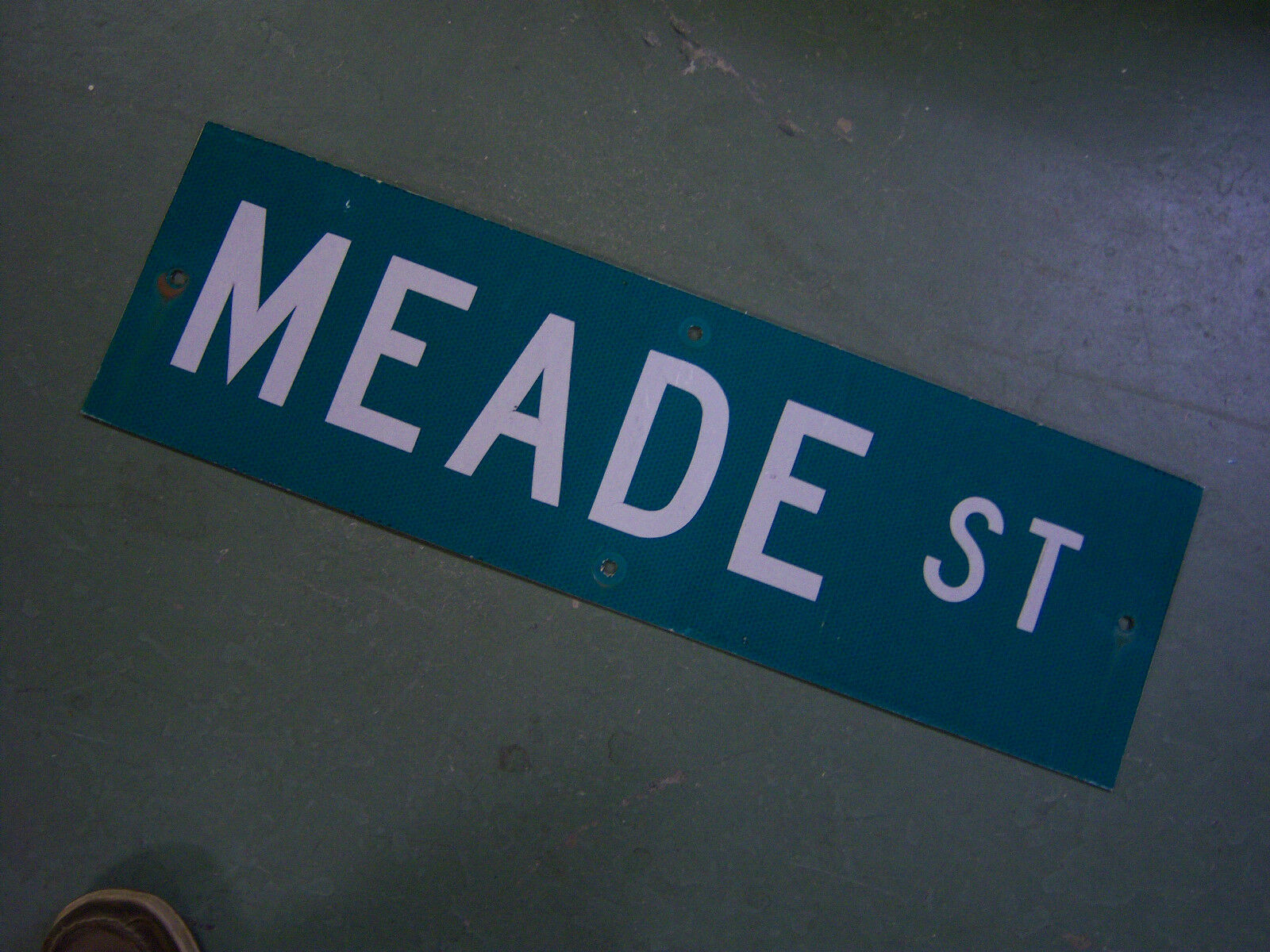 "Vintage ORIGINAL MEADE ST STREET SIGN WHITE ON GREEN BACKGROUND 30"" X 9"""
